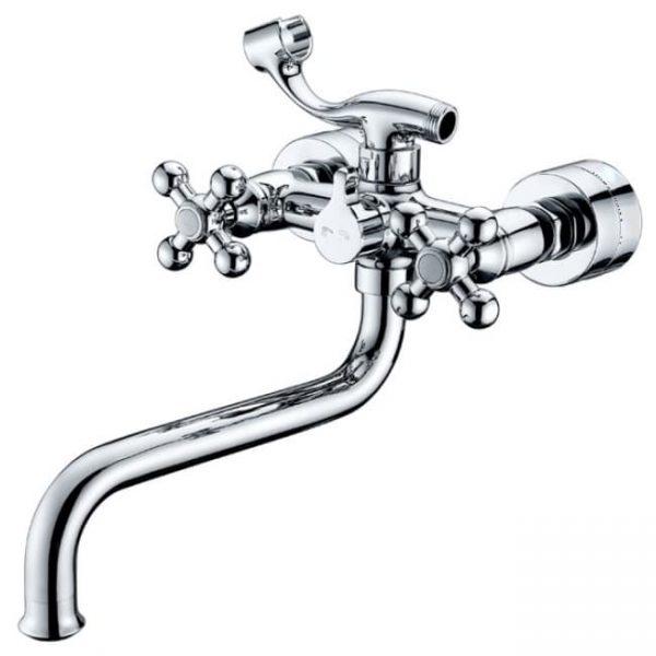 Смеситель для ванны с душем KAISER Carlson Lux крест (кер. перекл.)