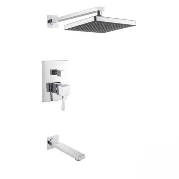 Смеситель для ванны KAISER Quadris скрытый монтаж с переключателем и верхним душем
