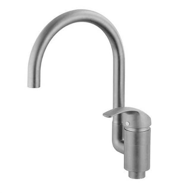 Смеситель для мойки кухни однорычажный KAISER Nova ф40 боковой Grey