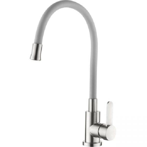 Смеситель для кухни Ledeme силиконовый излив серый нержавеющий корпус L74004-9