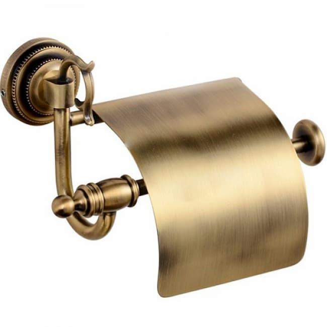 Держатель для туалетной бумаги с крышкой Classic Retro Bronze R-2