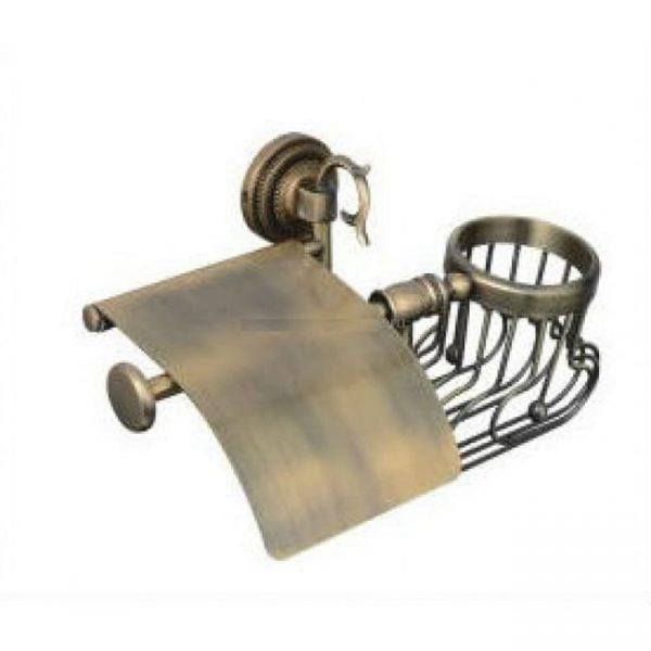 Держатель для туалетной бумаги с крышкой и освежитель Classic Retro Bronze R-2AR