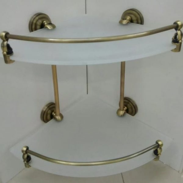 Полка двойная стекло угловая Classic Retro Bronze R-30