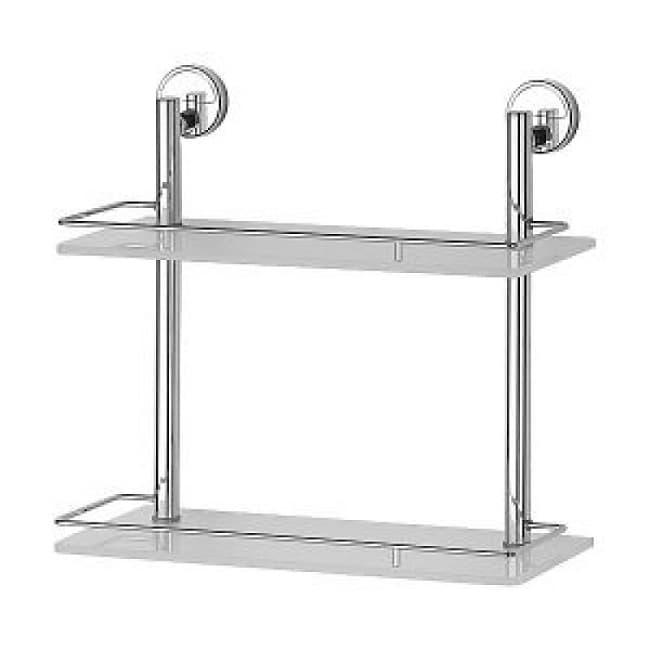 Полка прямоугольная двойная 40 см стекло матовое, белое C074