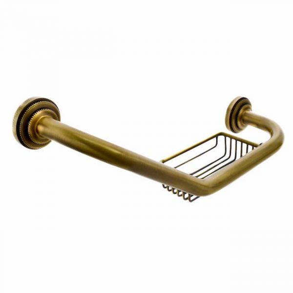 Поручень для ванны с мыльницей Classic Retro Bronze R-15