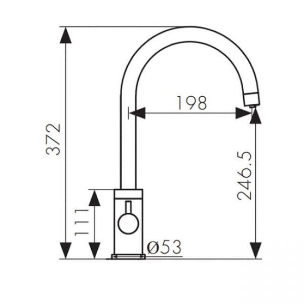 Смеситель для мойки кухни под фильтр R-излив 26744-3 KAISER Merkur боковой Ø35 Bronze схема