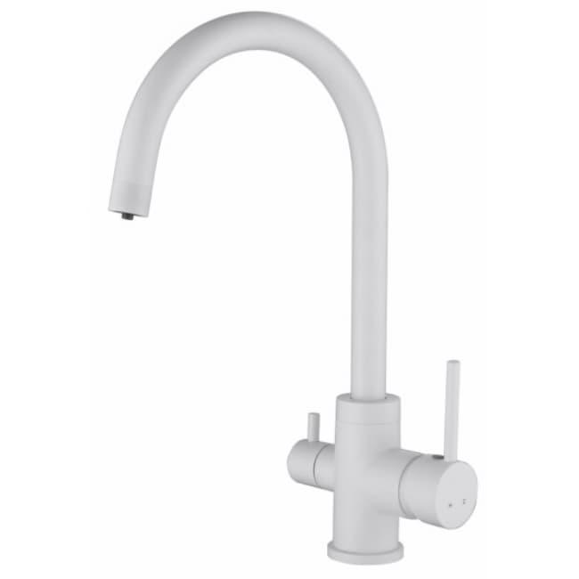 Смеситель для мойки кухни под фильтр R-излив 26744-4 KAISER Merkur боковой Ø35 White