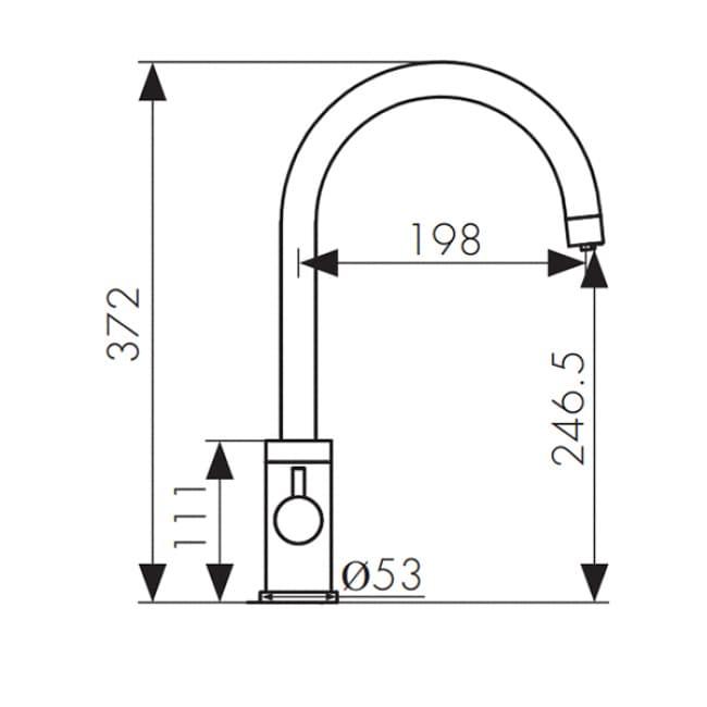 Смеситель для мойки кухни под фильтр R-излив 26744 KAISER Merkur боковой Ø35 схема