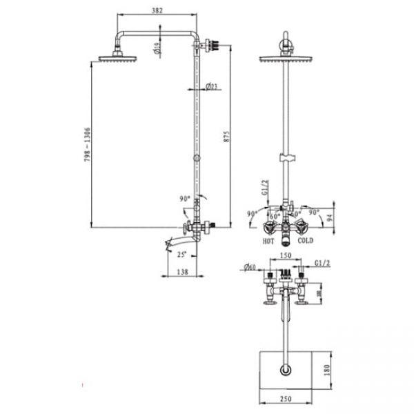 ушевая система 3-х режимная KAISER Trio 57188 схема