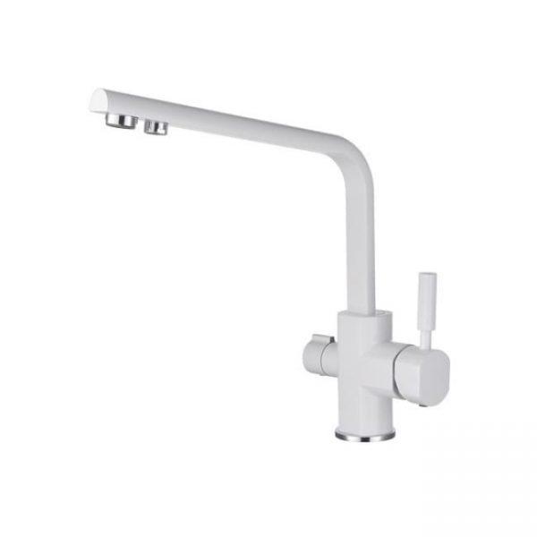 Смеситель для кухонной мойки под фильтр однорычажный боковой Kaiser Decor 40144-10 White Ø40