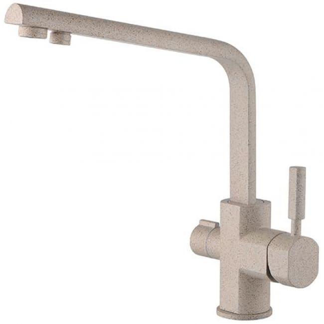 Смеситель для кухонной мойки под фильтр однорычажный боковой Kaiser Decor 40144-4 Sandbeige Ø40