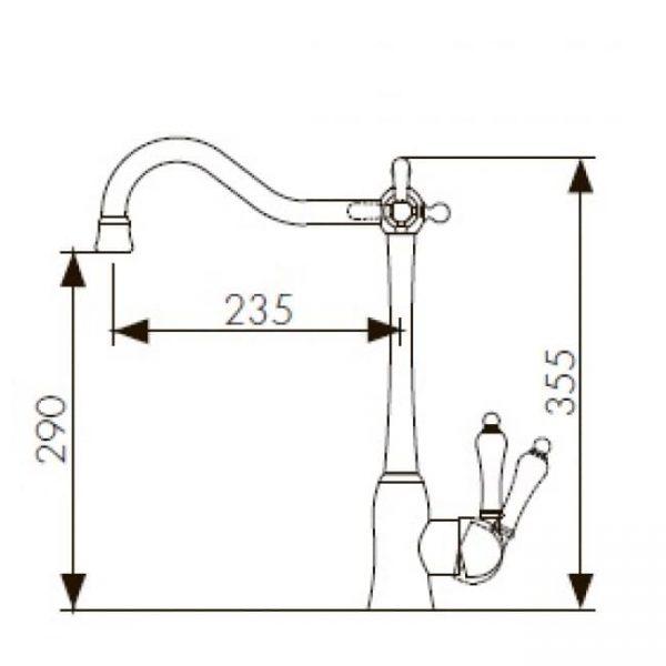 Смеситель кухонный под фильтр однорычажный боковой KAISER Vincent 31944 Chrome схема