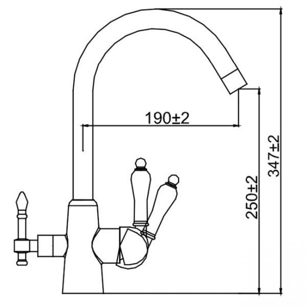 Смеситель Kaiser Vincent 31744 хром для кухни под фильтр схема