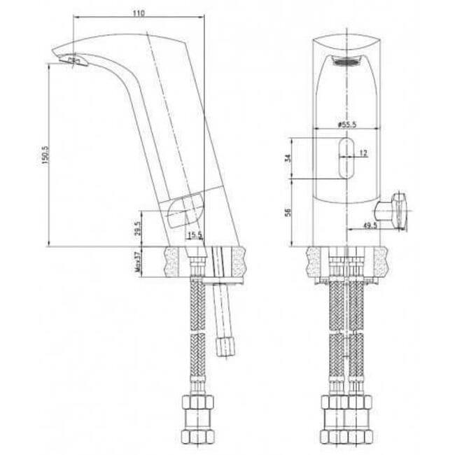 Смеситель бесконтактный для умывальника Kaiser Sensor 38011 хром схема