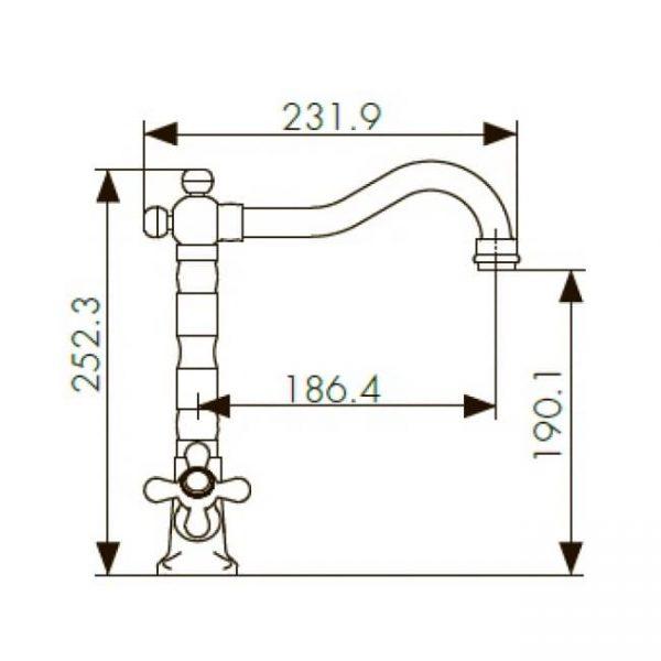 Смеситель для кухни KAISER Carlson Style с двумя рукоятками 44233 схема
