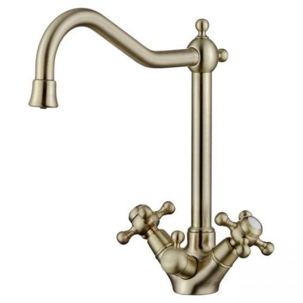 Смеситель для кухни KAISER Carlson Style с двумя рукоятками под фильтр 44333-1 бронза