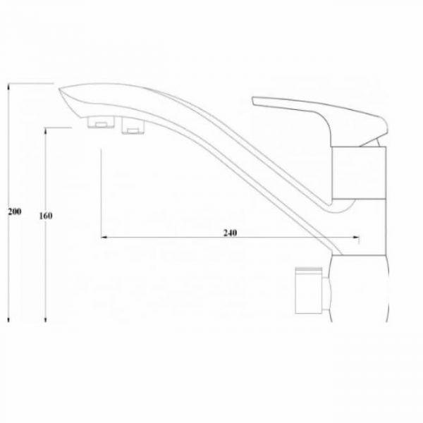 Смеситель для кухни KAISER Venus под фильтр хром 39066 схема