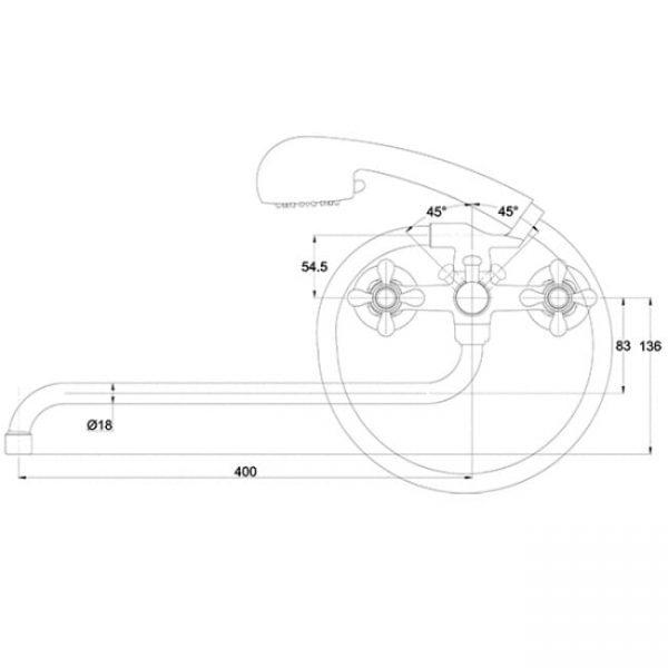 Смеситель для ванны с душем KAISER Carlson Style с двумя рукоятками 44255 схема