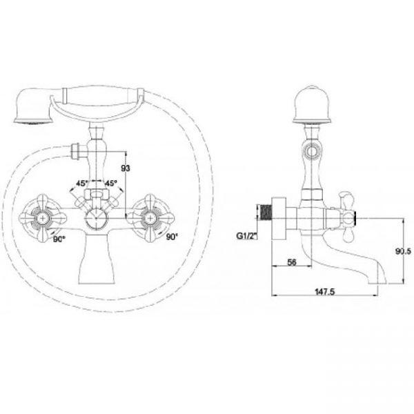 Смеситель для ванны с двумя рукоятками KAISER Carlson Style 44222-3 Gold схема