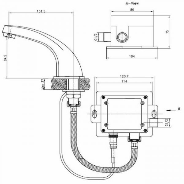 Смеситель сенсорный для умывальника Kaiser Sensor 38111 хром схема