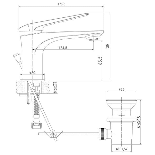 ALLEGRO Смеситель для умывальника монолитный, хром-белый схема