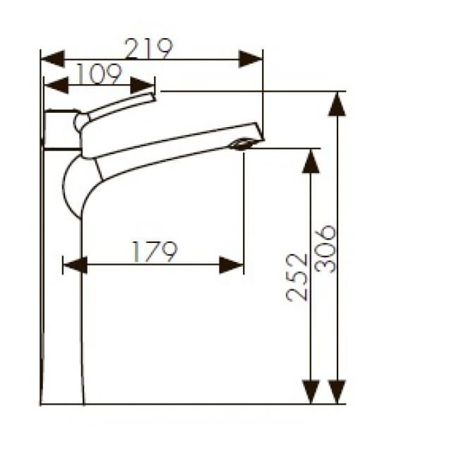 Смеситель KAISER Stick 49133 хром высокий для умывальника схема