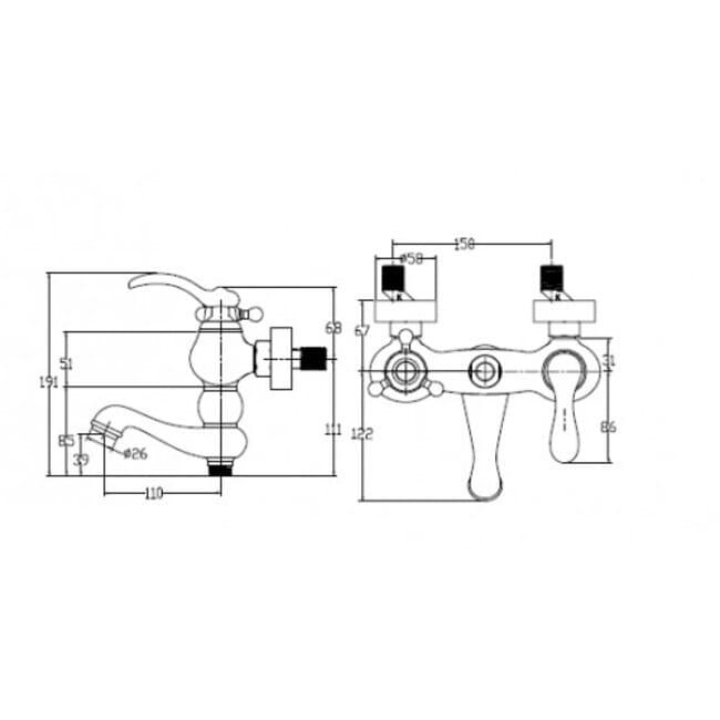 Смеситель Kaiser Logo 47722-1Br бронза для ванны схема