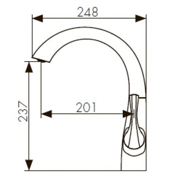 Смеситель для кухни KAISER Comba однорычажный боковой бронза 48044 схема