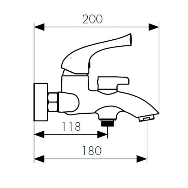 Смеситель для ванны Kaiser Comba 48022 с душем, хром схема