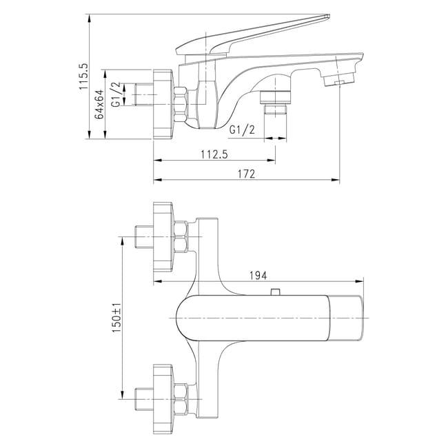 Смеситель для ванны монолитный Lemark Allegro LM5914CW короткий излив, хром-белый схема