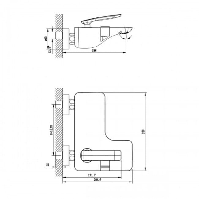 Смеситель для ванны монолитный Lemark Bellario LM6802C короткий излив, хром схема